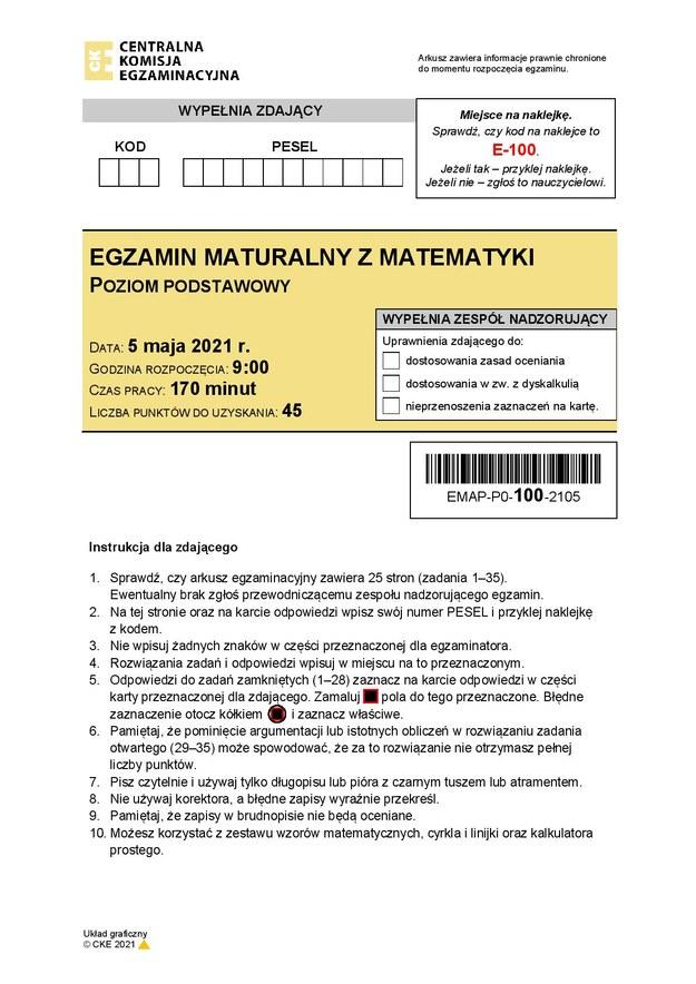 Arkusz CKE, matematyka, poziom podstawowy /Centralna Komisja Egzaminacyjna