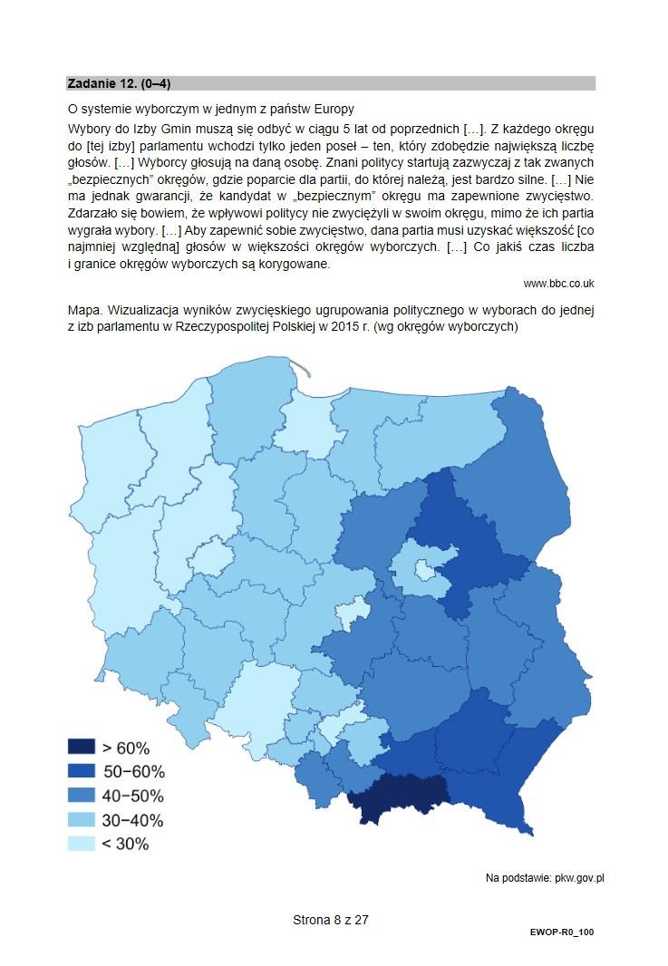 Arkusz CKE z matury 2021 z WOSu /INTERIA.PL