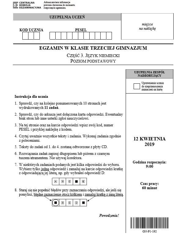 Arkusz z języka niemieckiego /CKE