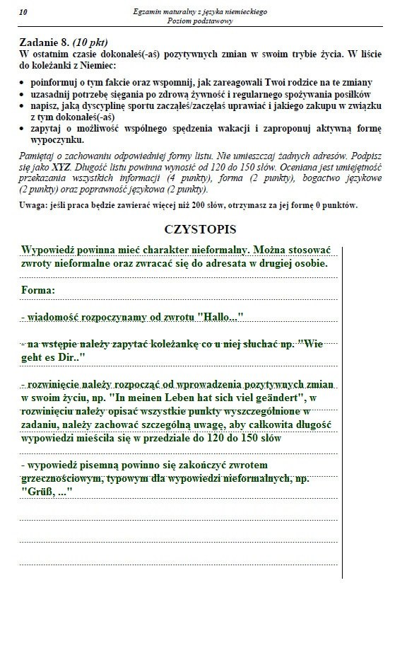 Matura 2013 Język Niemiecki Arkusze I Rozwiązania Poziom