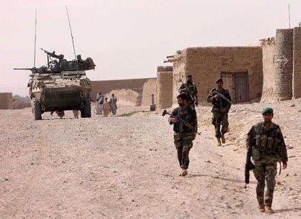 Armia rządowa (nz. z Kanadyjczykami), kontroluje zaledwie 30 proc. powierzchni Afganistanu... /AFP