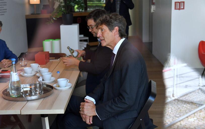 Arndt Freytag von Loringhoven po zwiedzaniu Instytutu Pileckiego - oddział w Berlinie /Marcin Bielecki   /PAP