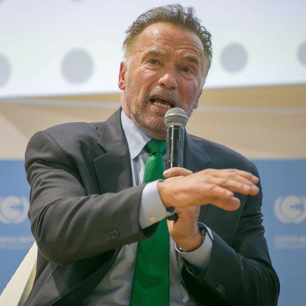 Arnold Schwarzenegger przemawia podczas Szczytu Klimatycznego ONZ COP24 w Katowicach /Hanna Bardo /PAP