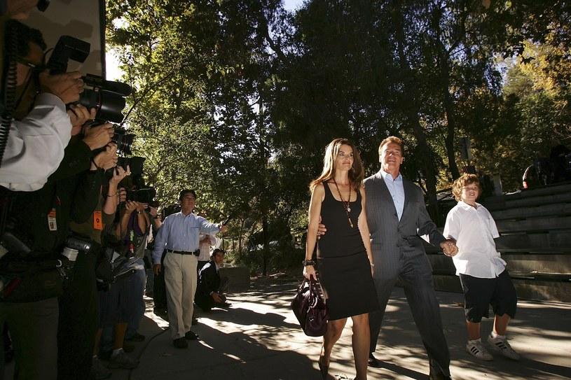 Arnold Schwarzenegger z żoną i synem /David McNew /Getty Images