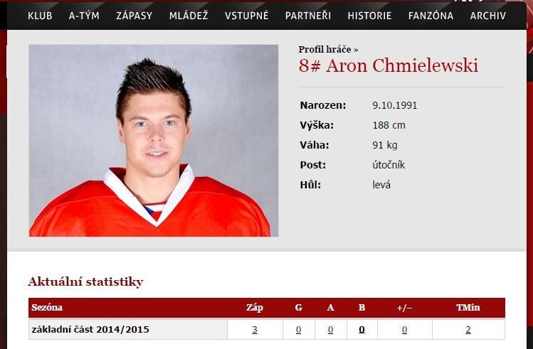 Aron Chmielewski na oficjalnej stronie Trzyńca. /INTERIA.PL