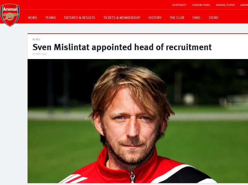 Arsenal potwierdził, że pozyskał Svena Mislintata; źródło: arsenal.com /