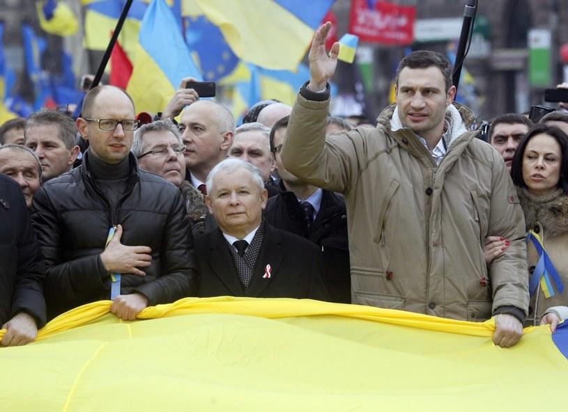 Arsenij Jaceniuk, Jarosław Kaczyński i Witalij Kliczko w Kijowie /PAP/EPA