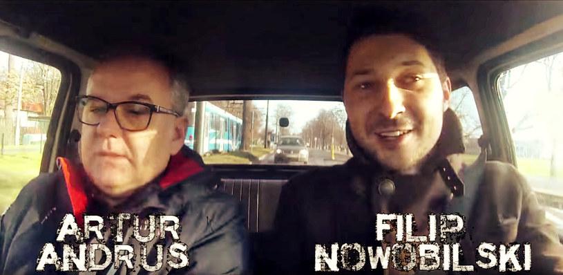 Artur Andrus na przejażdżce z Filipem Nowobilskim /materiały prasowe