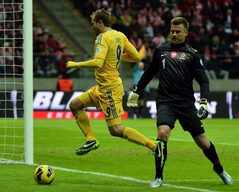 Artur Boruc dwoił się i troił, ale w meczu z Ukrainą był bezradny. /AFP
