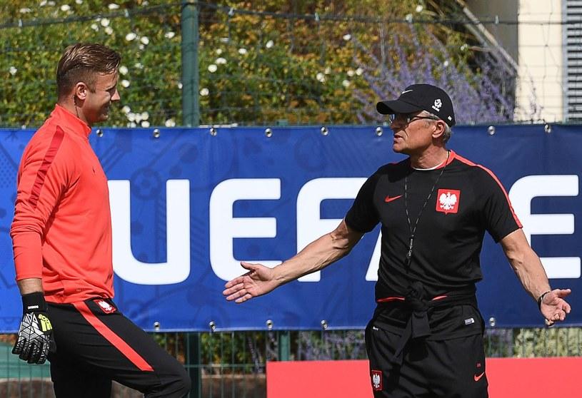 Artur Boruc i trener Adam Nawałka /AFP