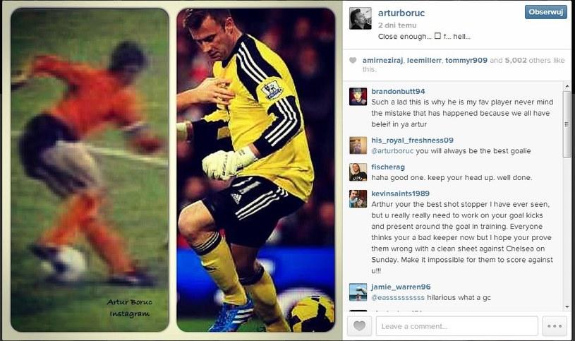 Artur Boruc takie zdjęcie umieścił na swym profilu serwisu Instagram. /INTERIA.PL