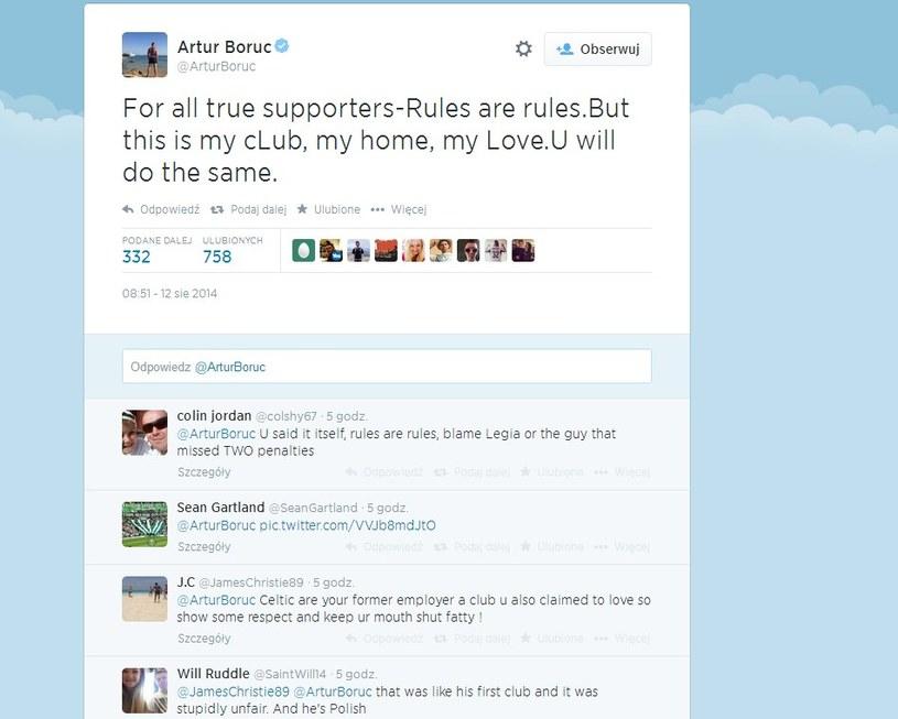 Artur Boruc wywołał gorącą dyskusję na Twitterze. /INTERIA.PL