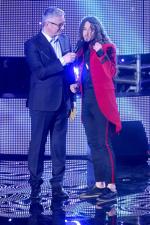 Artur Orzech i Michał Szpak po ogłoszeniu wyników finału krajowych preselekcji do Eurowizji /AKPA