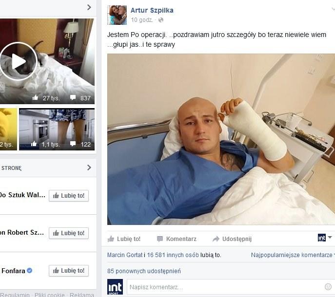 Artur Szpilka już po operacji, źródło: Facebook /