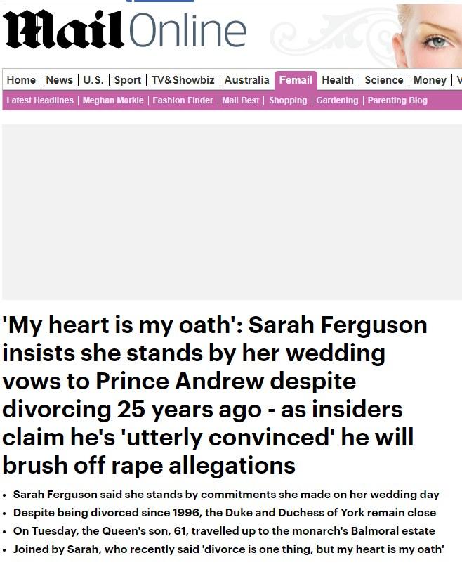 """Artykuł """"Daily Mail"""" na podstawie wywiadu Laskowskiej z Sarah Ferguson w Polsat News. /"""