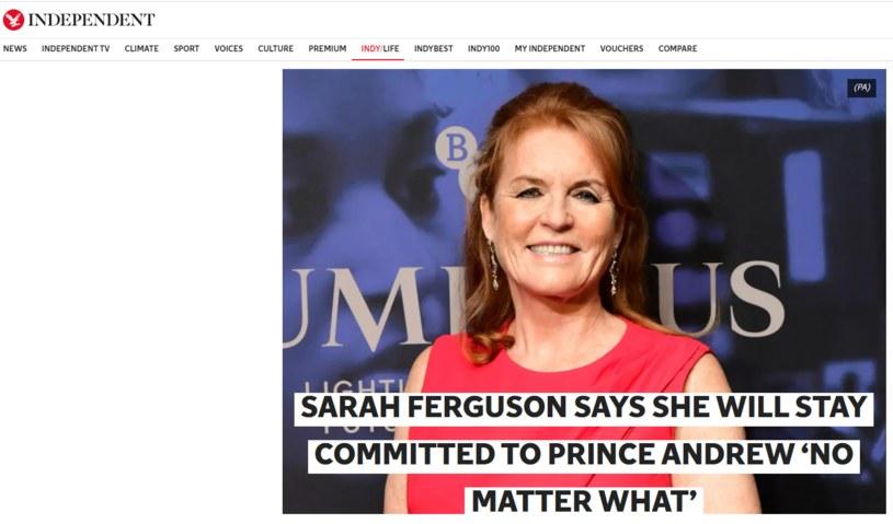 """Artykuł """"Independent"""" na podstawie wywiadu Laskowskiej z Sarah Ferguson w Polsat News."""