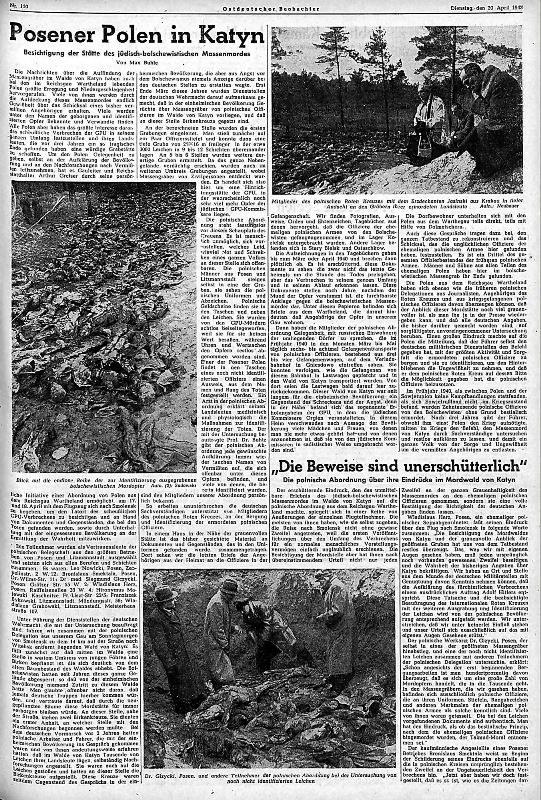 """Artykuł Maxa Buhle """"Posener Polen in Katyn"""" zamieszczony w """"Ostdeutscher Beobachter"""" 20 kwietnia 1943 roku. Był """"źródłem"""" informacji dla oficerów NKWD poszukujących polskich uczestników """"wycieczki"""" do Lasu Katyńskiego. /Odkrywca"""