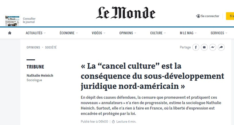 "Artykuł na łamach dziennika ""Le Monde"" /"