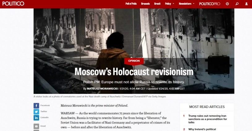 Artykuł polskiego premiera zamieszczony w Politico /