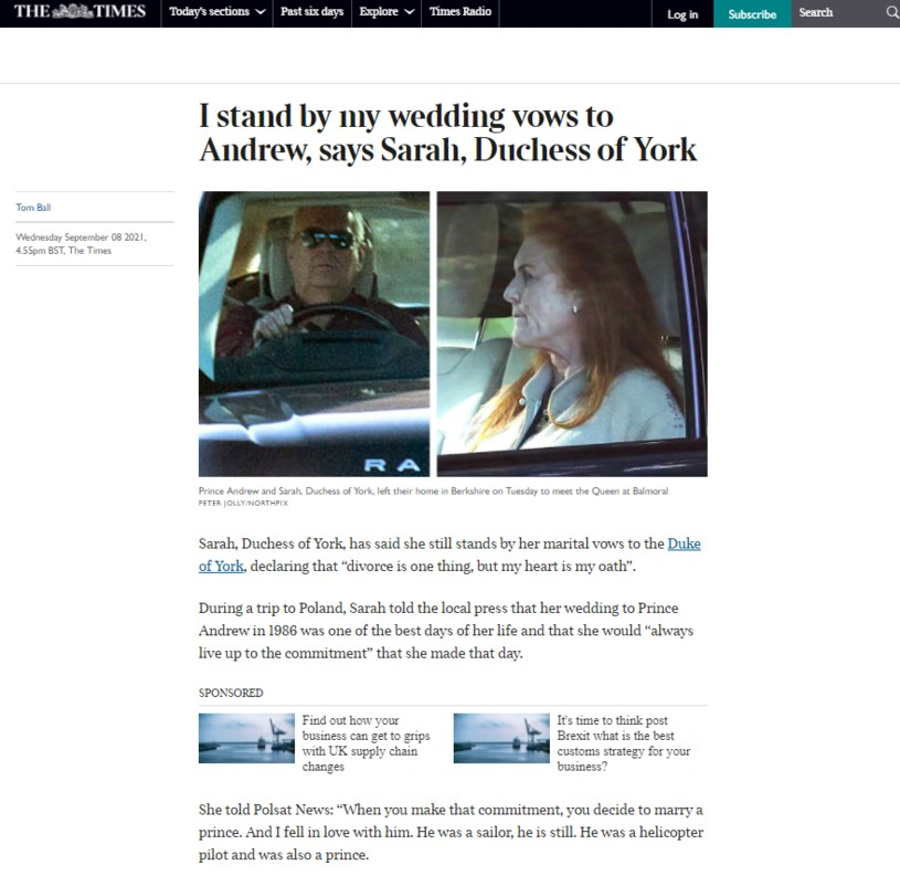 """Artykuł """"The Times UK"""" na podstawie wywiadu Laskowskiej z Sarah Ferguson w Polsat News."""