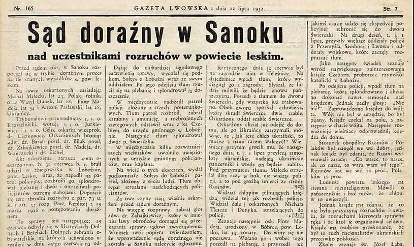 Artykuł w Gazecie Lwowskiej opisujący wydarzenia w Bieszczadach /Polona /domena publiczna
