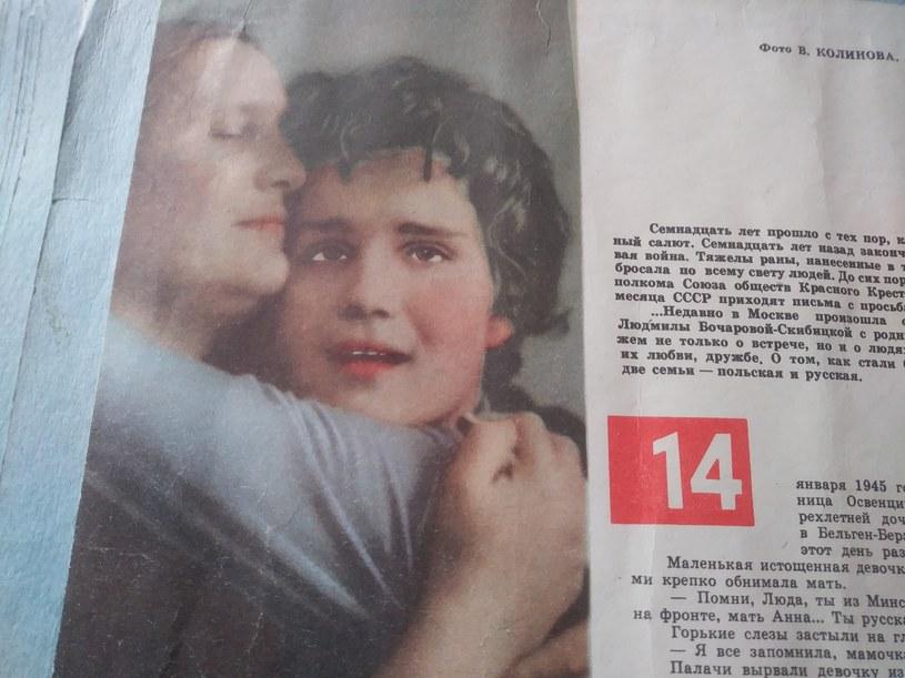 Artykuł w radzieckiej prasie, poświęcony spotkaniu pani Lidii i jej mamy /Agnieszka Maj /INTERIA.PL