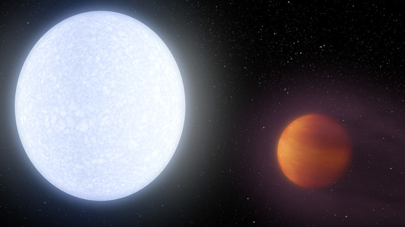 Artystyczna wizja gwiazdy KELT-9 i jej rozpalonej planety /materiały prasowe