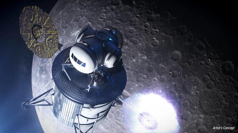Artystyczna wizja lądownika zmierzającego ku powierzchni Księżyca - program Artemis /NASA