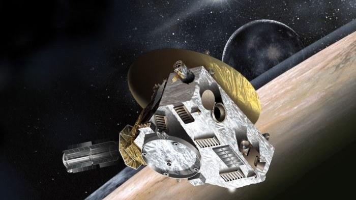 Artystyczna wizja sondy New Horizons przelatującej obok Plutona. /NASA