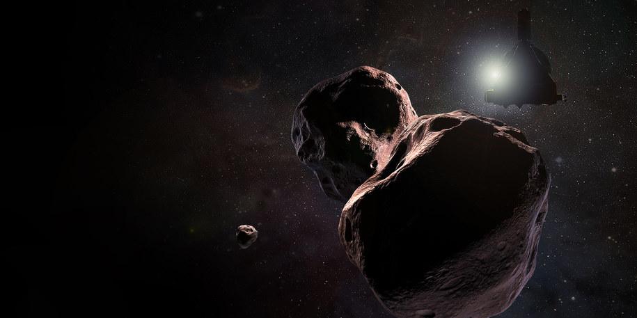 Artystyczna wizja spotkania sondy New Horizons z Ultima Thule /NASA/JHUAPL/SwRI/Steve Gribben /Materiały prasowe
