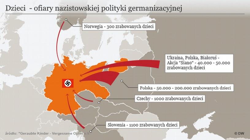 """""""Aryjskie"""" dzieci rabowane w całej Europie – mapa informacyjna Zródło: Geraubte Kinder - Vergessene Opfer e.V./DW /Deutsche Welle"""