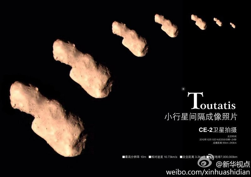 Asteroida Toutatis okiem misji Chang'e 2 /materiały prasowe
