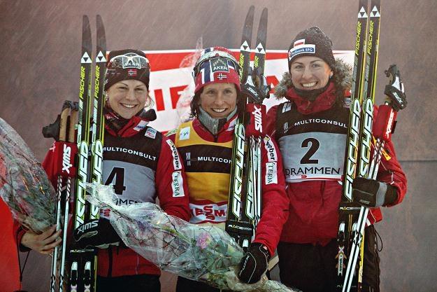 Astrid Uhrenholdt Jacobsen, Marit Bjoergen i Justyna Kowalczyk /PAP/EPA