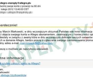 Atak phishingowy na użytkowników Allegro