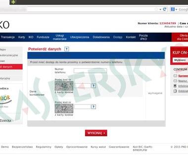 Atak phishingowy na użytkowników serwisu iPKO - cyberprzestępcy wyłudzają dane logowania oraz kody