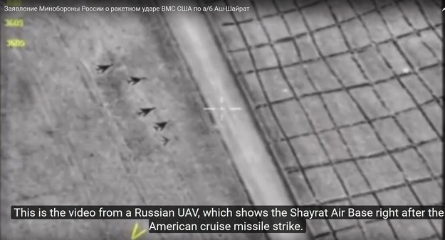Atak rakietowy na bazę lotniczą syryjskich sił rządowych /RUSSIAN DEFENCE MINISTRY PRESS HANDOUT /PAP/EPA