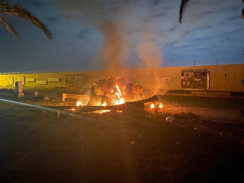 Atak, w którym zginął Kasem Sulejmani /IRAQ'S SECURITY MEDIA CELL HANDOUT /PAP/EPA