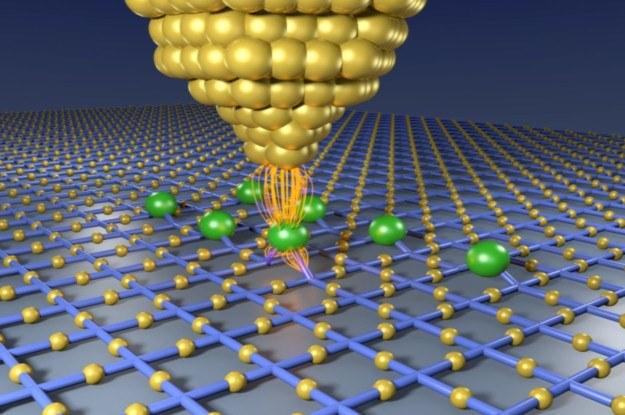 Atomy żalaza układane są w rzędach na powierchni azotku miedzi i wiązane atomami azotu. Fot. CFEL /INTERIA.PL