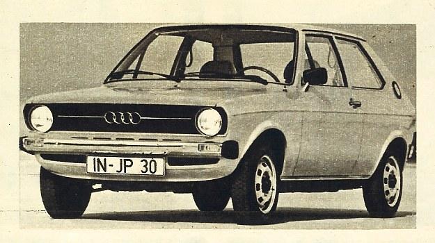 Audi 50. Mały samochód klasy 3,5 m o bardzo pojemnym wnętrzu. Już w tym roku, pod nazwą Volkswagen, zacznie on walkę z konkurentami w rodzaju Fiata 127 i Renault 5. /Audi