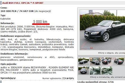 Audi w Polsce, przebieg 5 tys. km / Kliknij /