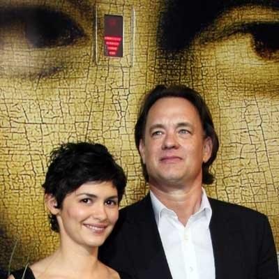 Audrey Tautou i Tom Hanks w Cannes, jeszcze przed pokazem prasowym /AFP