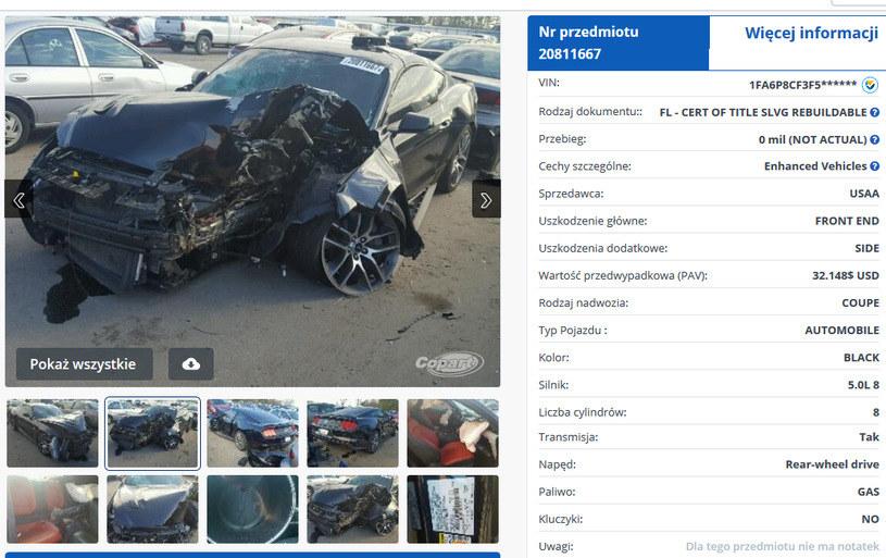 Aukcja uszkodzonego pojazdu w USA /