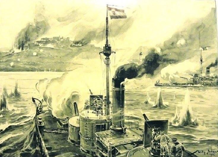 """Austro-Węgierska pocztówka pokazująca atak na twierdzę belgradzką w 1914 roku. Monitory marynarki K.u.K.  """"Szamos"""", """"Temes"""" i """"Bodrog"""" ostrzelały Belgrad 29 lipca 1914 roku, miasto ostatecznie padło 30 października tego roku. /INTERIA.PL"""