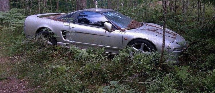Auto straciło już swój blichtr, zaczęło rdzewieć i obrastać mchem. Pod maską nie miało silnika /foto. reddit.com/r/ANormalDayInRussia /