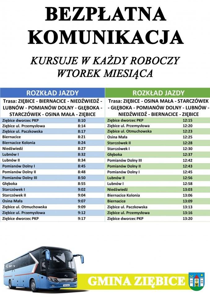 Autobusy w gminie Ziębice według rozkładu jazdy na wtorki /UTK /Archiwum