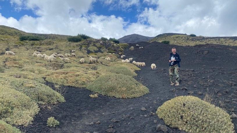 Autor bloga Wulkany Świata na zboczu wulkanu Etna, wrzesień 2020 /Tomasz Lepich  /archiwum prywatne