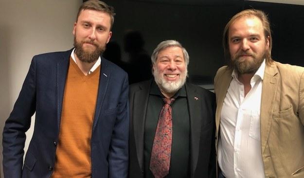 Autorzy wywiadu i Steve Wozniak /RMF FM /