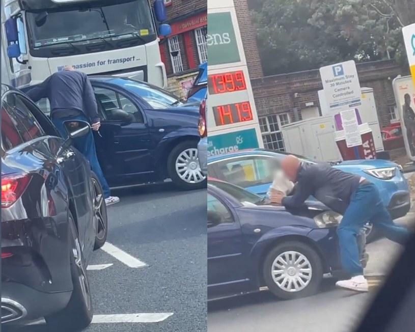 Awantura na stacji benzynowej w Londynie /Evening Standard/Eyevine /East News