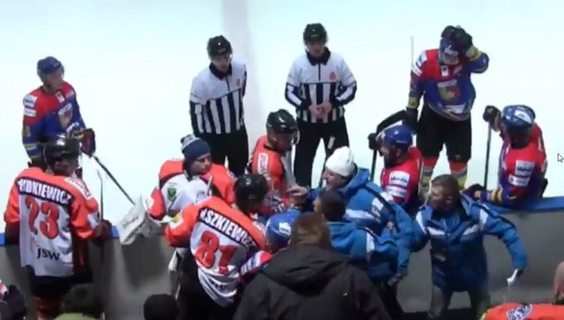 Awantura podczas meczu JKH GKS Jastrzębie - Podhale Nowy Targ /Youtube