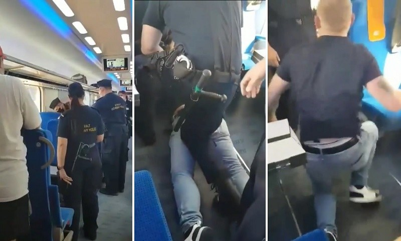 Awantura w pociągu z powodu braku maseczki. /Facebook